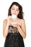 Mujer agradable con la taza de café fotos de archivo