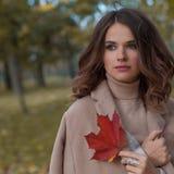 Mujer agradable en Autumn Day frío Fotografía de archivo libre de regalías