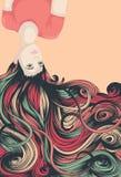 Mujer al revés con el pelo largo Fotografía de archivo