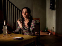 Mujer alcohólica Foto de archivo libre de regalías