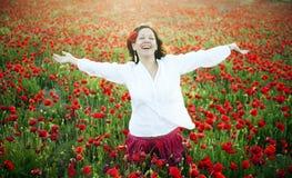 Mujer alegre Foto de archivo libre de regalías