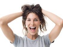 Mujer alegre con el pelo sucio fotos de archivo