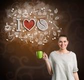 Mujer alegre con la taza de café Imagenes de archivo