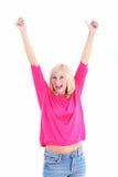 Mujer alegre con los brazos levantados Fotografía de archivo