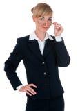 Mujer alegre en un traje de negocios Imagenes de archivo