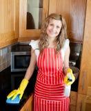 Mujer alegre que hace el quehacer doméstico fotos de archivo