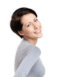 Mujer alegre sonriente Imagenes de archivo