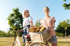 Mujer alegre y nieta mayores que van a tener una comida campestre Foto de archivo