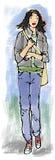 Mujer alta stock de ilustración