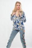 Mujer americana caucásica rubia joven de la moda imagen de archivo