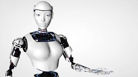 Mujer androide del robot atractivo con el canal alfa Tecnología futura del Cyborg, inteligencia artificial, informática