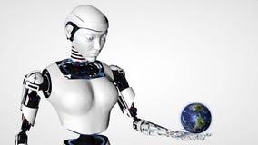 Mujer androide del robot atractivo que sostiene la tierra del planeta Tecnología futura del Cyborg, inteligencia artificial, info ilustración del vector