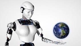 Mujer androide del robot atractivo que sostiene la tierra del planeta Tecnología futura del Cyborg, inteligencia artificial, info stock de ilustración