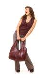 Mujer animada con el bolso Imagen de archivo