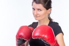 Mujer ansiosa del boxeador Foto de archivo libre de regalías