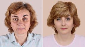 Mujer antes y después de aplicar maquillaje y hairstyling Imagenes de archivo