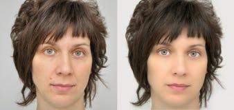 Mujer antes y después de aplicar maquillaje y retocar del ordenador Foto de archivo libre de regalías