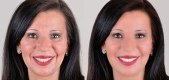 Mujer antes y después de aplicar maquillaje y retocar del ordenador Fotos de archivo