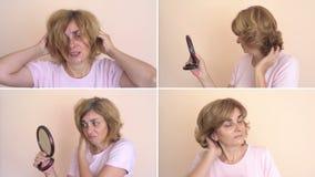 Mujer antes y después del peinado almacen de metraje de vídeo