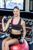 Mujer apta que ejercita con pesas de gimnasia Imágenes de archivo libres de regalías