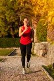 Mujer apta que hace ejercicios cardiios en el parque Foto de archivo libre de regalías