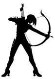 Mujer Archer Silhouette stock de ilustración
