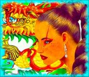 Mujer asiática con el extracto colorido, fondo del dragón Imagen de archivo libre de regalías