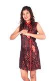 Mujer asiática con el gesto de la enhorabuena Fotos de archivo libres de regalías