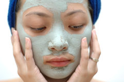 Mujer asiática con la máscara Fotografía de archivo