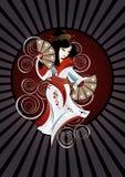 Mujer asiática con los ventiladores stock de ilustración