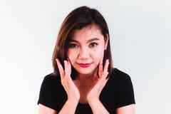 Mujer asiática de la belleza en el fondo blanco Foto de archivo