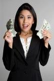 Mujer asiática del dinero imagen de archivo