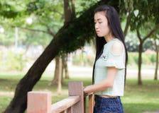 Mujer asiática del retrato al aire libre Fotos de archivo libres de regalías
