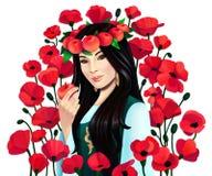 Mujer asiática del retrato de Digitaces con las manzanas y las flores de la amapola en el fondo blanco, aislado stock de ilustración