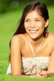 Mujer asiática feliz del resorte Imágenes de archivo libres de regalías
