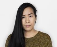 Mujer asiática Front View Serious Concept Fotografía de archivo