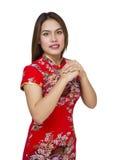 Mujer asiática hermosa con el vestido tradicional chino, ne chino Foto de archivo libre de regalías