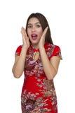 Mujer asiática hermosa con el vestido tradicional chino, ne chino Fotos de archivo libres de regalías