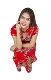 Mujer asiática hermosa con el vestido tradicional chino, ne chino Fotografía de archivo libre de regalías