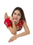 Mujer asiática hermosa con el vestido tradicional chino, ne chino Foto de archivo