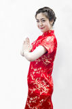 Mujer asiática hermosa con gesto Imagenes de archivo