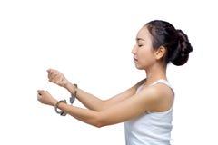 Mujer asiática hermosa con la cara pura y su mano en grillo, ella Foto de archivo libre de regalías