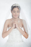 Mujer asiática hermosa del retrato en el vestido de boda blanco con velo Foto de archivo