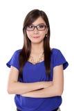 Mujer asiática joven acertada del empresario, en blanco Foto de archivo