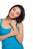 Mujer asiática joven atractiva ocasional Fotografía de archivo libre de regalías
