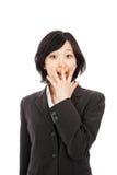 Mujer asiática joven que sorprende Imágenes de archivo libres de regalías