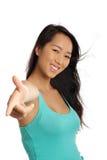 Mujer asiática que señala el dedo Fotos de archivo libres de regalías