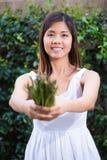 Mujer asiática que sostiene un manojo de espárrago Foto de archivo libre de regalías