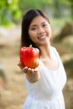 Mujer asiática que sostiene un paprika rojo Imagenes de archivo