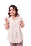 Mujer asiática envejecida centro salida Imagenes de archivo